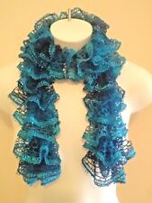Fashion Crochet Ruffle Scarf Red Heard Sashay Mediterranean Dark Green
