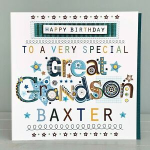 Great Grandson birthday card personalised. Special greeting card Personalised