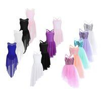 Girls Lyrical Dance Dress Contemporary Ballet Sequined Leotard Dancewear Costume