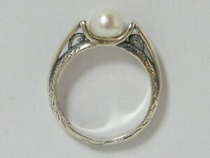 SHABLOOL 925 Sterling Silver White natural fresh water pearl solitaire Ring