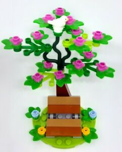LEGO Tree with Flowers, Bench, Stand and White Dove Bird