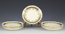 """7pc Brown, Westhead & Moore Co., Cauldon Butter Pats 3.375"""" 1881. Gilt on Cream"""