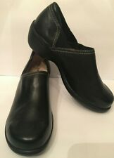 L.L. Bean Womens Clogs Size 10M Black Smooth Leather Wedge Style Comfort Shoe