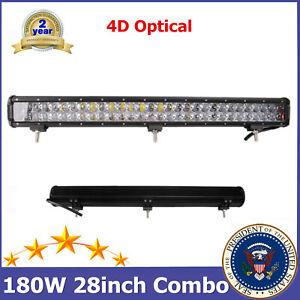 "28inch 180W Flood Spot Combo LED Work Light Bar 4D+ Offroad Boat SUV 150W 26/30"""