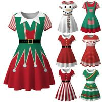 Women Winter Snowman Christmas Dress Printed Vintage O-neck Swing Party Dress CA