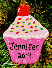 U CHOOSE NAME & YEAR Personalized CUPCAKE ORNAMENT Christmas Kids Decor