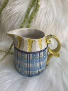 Unbranded Handpainted Ceramic Creamer Yellow Blue Plaid