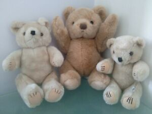 3 x Teddy Bear Soft Toy Bundle - Articulated Posable Jointed