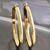 Womens Yellow Gold Plated Smooth Huggie 60mm Big Large Hoop Chandelier Earrings