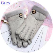 17526d42e42f4 Women Fur Wool Sheepskin Gloves Winter Warm Outdoor Leather Full Finger  Mittens Grey