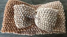 Hand Knitted Wide Headband with Bow: Pale Brown & Natural Mix, by Knitted Nature