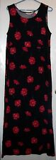 Bechamel Black With Red Floral Design Sleeveless 100% Cotton Sz PM Long Dress