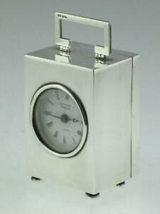 Antique English Solid Silver Carriage Clock By Matthew Norman 1981 London