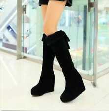 Fashion Women's Knee High Boots  Wedge Heel Platform Winter Faux Suede  Shoes Sz