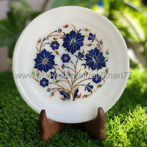 White Collectible Plate Marble Inlay Wall Plate with Floral Design Art