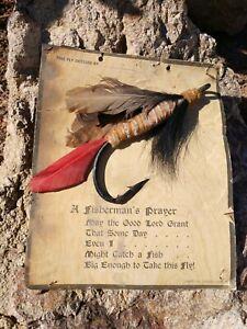 "Vntg Herters Inc, Waseca MN, Fisherman's Prayer Plaque w/ 9"" Fish Hook"
