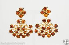 Kenneth Jay Lane Gold Plated Golden Tortoise Cabochon clip earrings