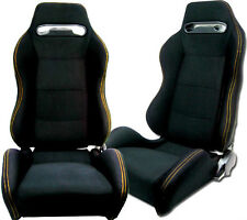 NEW 1 PAIR BLACK CLOTH + YELLOW STITCH RACING SEATS ALL FORD ****
