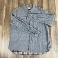 Carbon 2 Cobalt Mens Quilted Button Down Shirt Grey Cotton Large L Long Sleeve