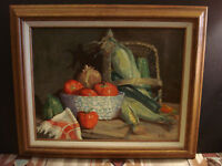 """Fresh Produce"" Still Life Oil On Board Folk Art Painting By Dave Hill 14x18"