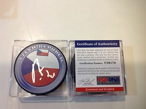 Patrik Elias Signed Czech Republic Hockey Puck PSA DNA COA Autographed Devils b