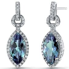 Simulated ALEXANDRITE Marquise Dangle Drop Earrings Sterling Silver 4.5 Carats