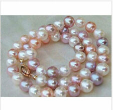 9-10mm south sea white pink purple multicolor pearl necklace 19inch 14k gold