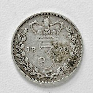 GB VICTORIA SILVER (.925) THREEPENCE - 1878 ++ NICE GRADE!! ++ [996-07]
