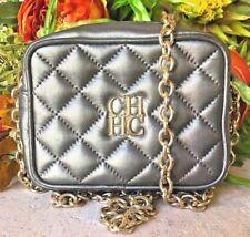 Carolina Herrera Metallic Charcoal Quilted Mini Crossbody Handbag