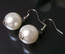 Earrings Pearl White 12mm Hook Earrings Silver Jewelry Bead Earrings O433