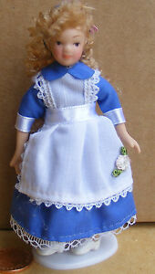 1:12 Scale Victorian Girl In A Blue Alice Dress Tumdee Dolls House Miniature