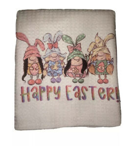 Happy Easter Gnomes Girls Waffle Weave Kitchen Towel (16x16 Inches)
