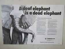 11/1982 PUB THOMSON-CSF TELECOMMUNICATIONS RADIO TRC VHF/FM ELEPHANT ELEFANT AD