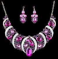 PURPLE RHINESTONE CRYSTAL NECKLACE SET PAGEANT BRIDAL STAGE DRAG QUEEN EVENING