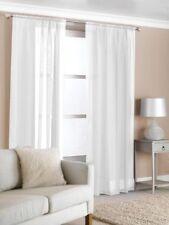2 Slot Top Voile Net Panels, Voiles Curtains Pair, Rod Many Sizes & Colours