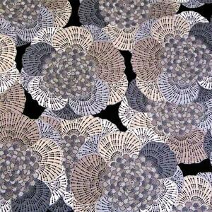 Silver, Black, Ivory & Tan Patterened Petals, A Northcott Cotton, Per 1/2 Yd