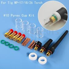 21pcs TIG Welding Torch Stubby Gas Lens #10 Pyrex Cup Kit for Tig WP-17/18/26