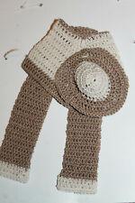 Handmade crochet thread Barbie size outfit OOAK 3 pcs Pants Poncho & hat