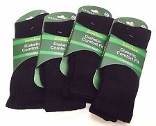 Dark Navy 4 Pairs Diabetic Loose Top Mens Bamboo Socks Cushion Crew Sock 6 - 11