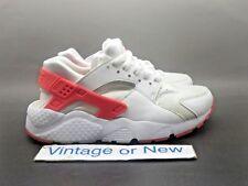 Girls' Nike Air Huarache Run White Racer Pink Running Shoes GS 654280-108 sz 4Y