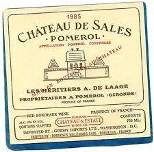 POMEROL ETIQUETTE CHATEAU DE SALES 1985 EXPORT USA WASHINGTON  75 CL RARE§10/09§