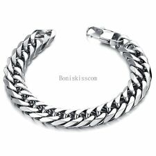 Men's Heavy Wide Silver High Polished Stainless Steel Curb Link Chain Bracelet