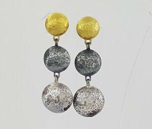 Gurhan Triple Drop Hand Hammered Sterling Silver & 24K Yellow Gold Earrings