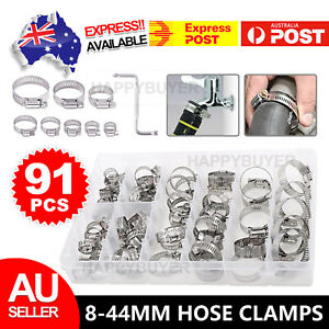 Adjustable 91X Stainless Steel Hose Clamps Clips Range Worm Gear Pipe Clamp Kit