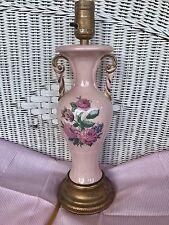Vintage Pink Lamp Floral Flowers Boudior Light Brass Cottage Victorian