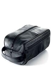 Men s Black Leather Toiletry Bag Men s Wash Bag  WB3