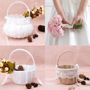 Romantic Bowknot Satin Burlap Wedding Ceremony Party Rose Flower Girl Basket