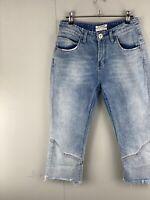 One x One Teaspoon Women's Denim 7/8 Short Jeans with Fringe Blue Size 25