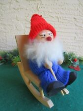 VINTAGE WOOD TOMTE NISSE ELF SANTA ROCKING IN CHAIR KNITTED OUTFIT SWEDEN RARE
