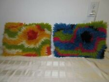 Mid Century Modern PAIR Shag Hook Rug Psychedelic Throw Pillows FAR OUT RETRO